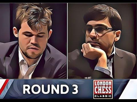 Magnus Carlsen vs Viswanathan Anand Catalan opening London Chess Classics 2017 round 3