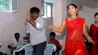 andhra sexy Red Saree aunty spicy hot dance