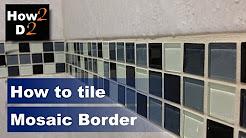 How to tile mosaic border. Mosaic stripes tiling. Mosaic tiles installing