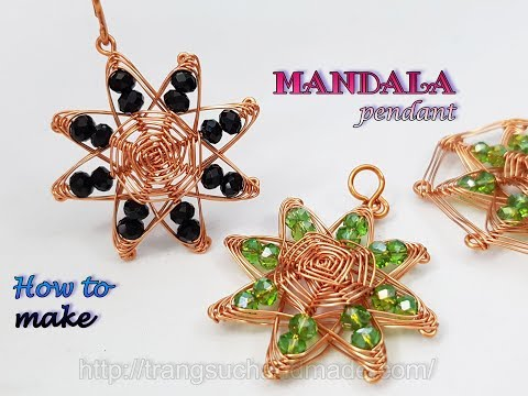 """Mandala pendant inspired """"God's eye craft"""" - jewelry from copper wire and abacus crystal 498"""