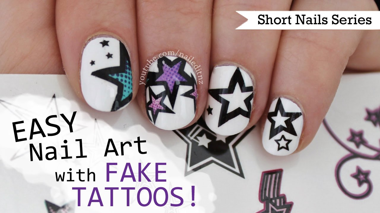 How To Do Nail Art With Fake Tattoos Nail Art For Short Nails 7 Youtube
