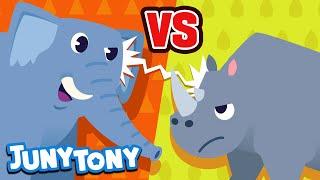 Elephant vs. Rhino | Vs Series Song for Kids | Who is the Best? | Kindergarten Song | JunyTony