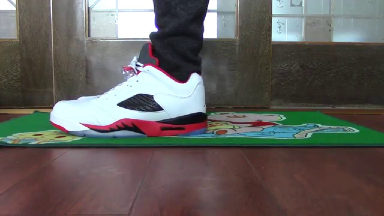 info for dd8dd 64146 Authentic Air Jordan 5 Low Fire Red on foot - YouTube