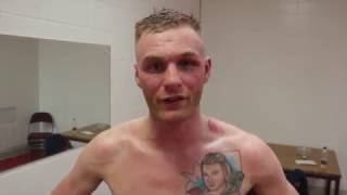 JACK ARNFIELD REACTS TO WINNING BATTLE OF BLACKPOOL WITH POINTS WIN OVER BRIAN ROSE IN MANCHESTER