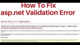 How to fix asp.net validation jquery error