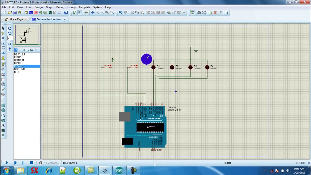 arduino proteus simulation with button