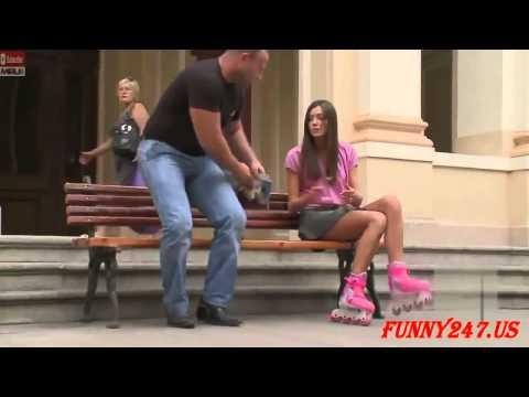 Hot Girl Ice Skating shows Upskirt   Sexy Prank thumbnail