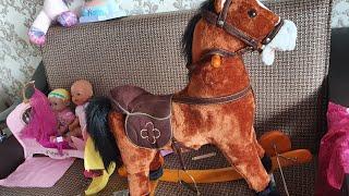 Распаковка Детская лошадка игрушечная звуковая качели с Беби Бон