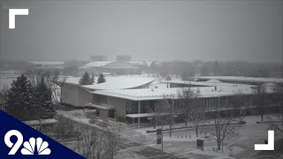 Light snow falls in Fort Collins