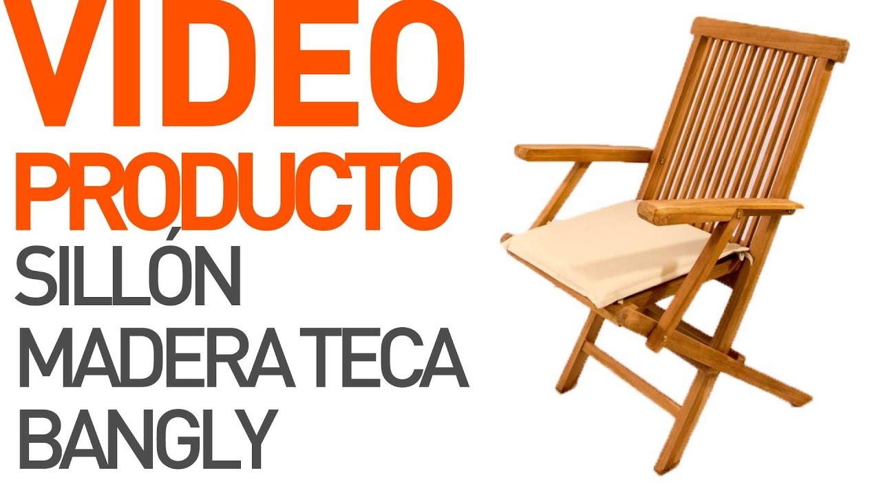 Sill n plegable madera teca bangly youtube - Como tapizar un sillon ...