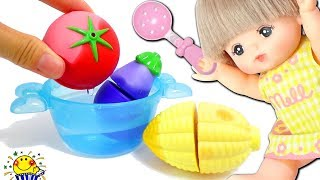 メルちゃん おもちゃ おうちで料理♪不思議な野菜でクッキング♪キッチンでお店屋さんごっこ♪おままごと surprise eggs Mell-chan toy たまごMammy