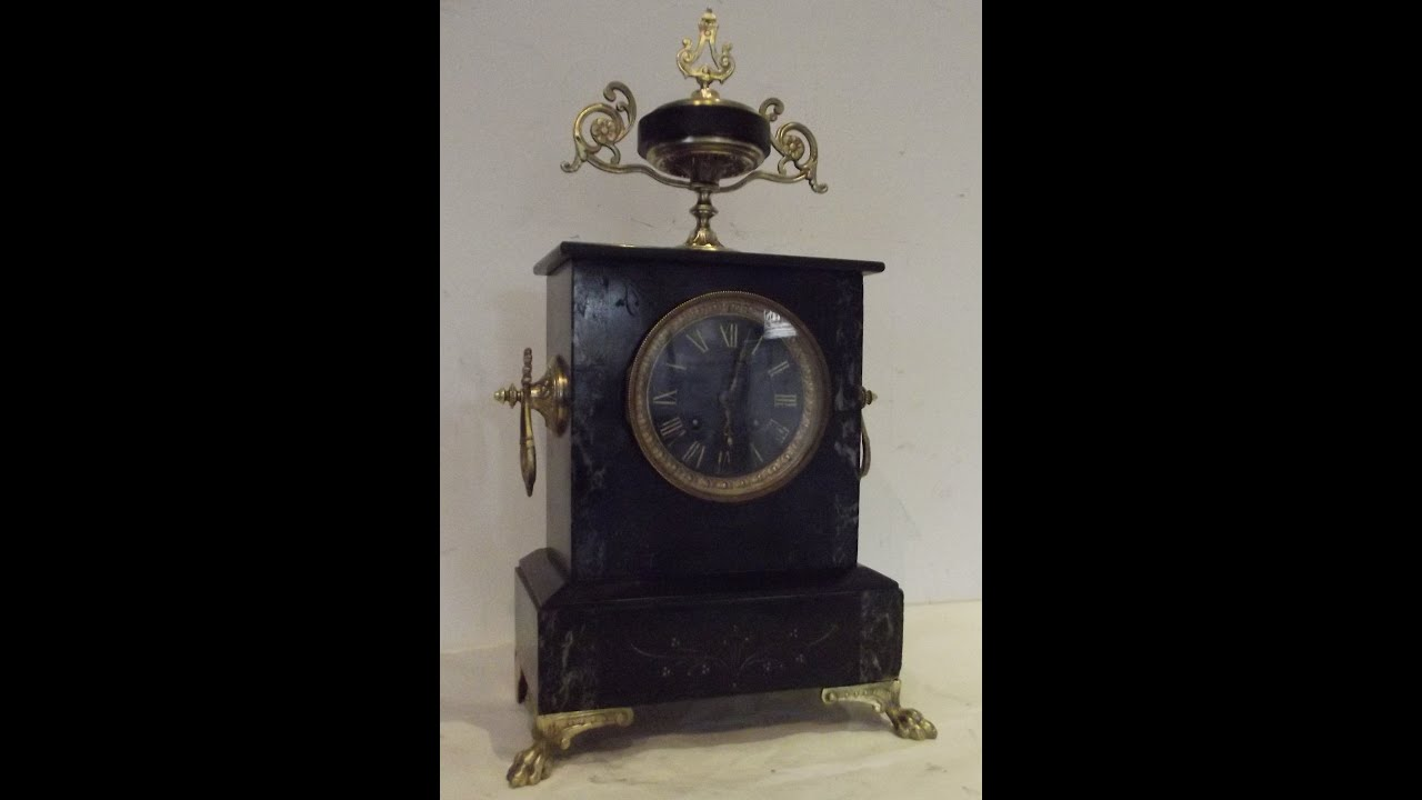 pendule napol on marbre noir mouvement paris japy ancien. Black Bedroom Furniture Sets. Home Design Ideas