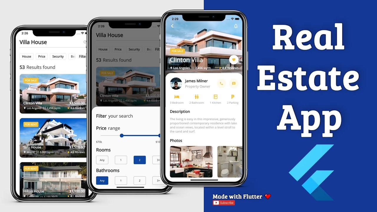 Flutter App UI - Real Estate - Speed Code