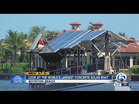 Look at the world's largest concrete solar boat