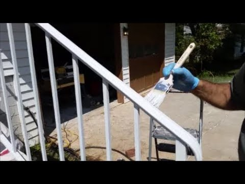 How to Paint A Wrought Iron Railing   - Using Rustoleum Clean White Primer
