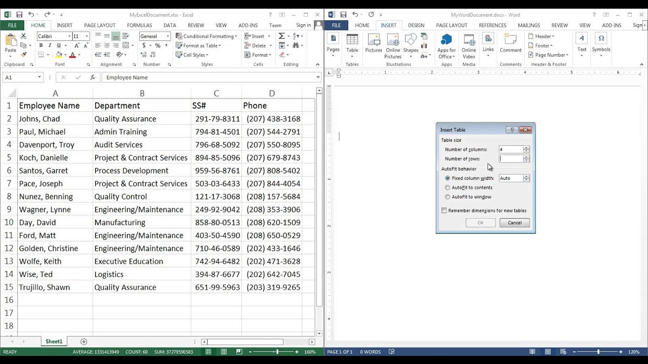 How To Insert Excel Spreadsheet Data Cells Into Microsoft Word Table