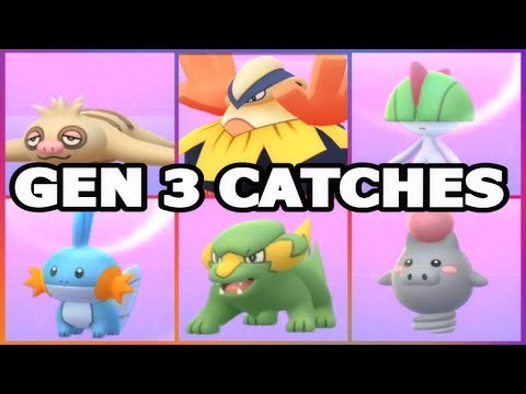 GEN 3 CATCHES IN POKEMON GO WILD HARIYAMA, SLAKOTH, MUDKIP, RALTS & SO MUCH MORE!