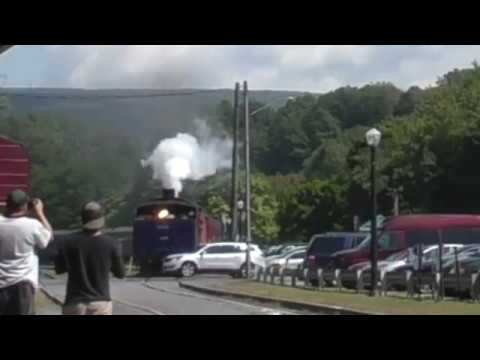 Reading and Northern 425 steam train hits car leaving lot in Jim Thorpe