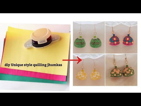 diy||Paper Quilling Jhumkas||Making Unique Style Quilling Jhumkas Using color papers/hole puncher