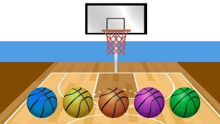 Learn Colors with Basketball Colorful Balls Finger Family Song Nursery Rhymes for Babies Kids