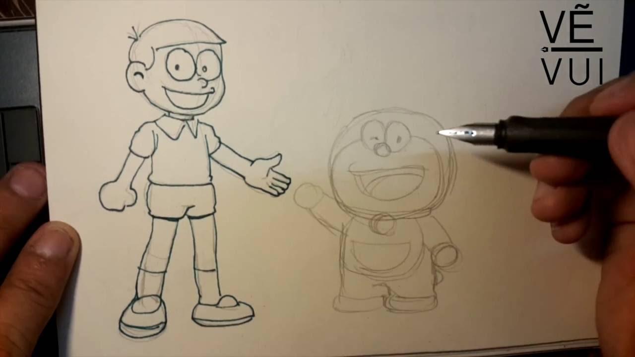 How to draw Nobita andDoraemon – Hướng dẫn vẽ đôi bạn Nobita và Doraemon