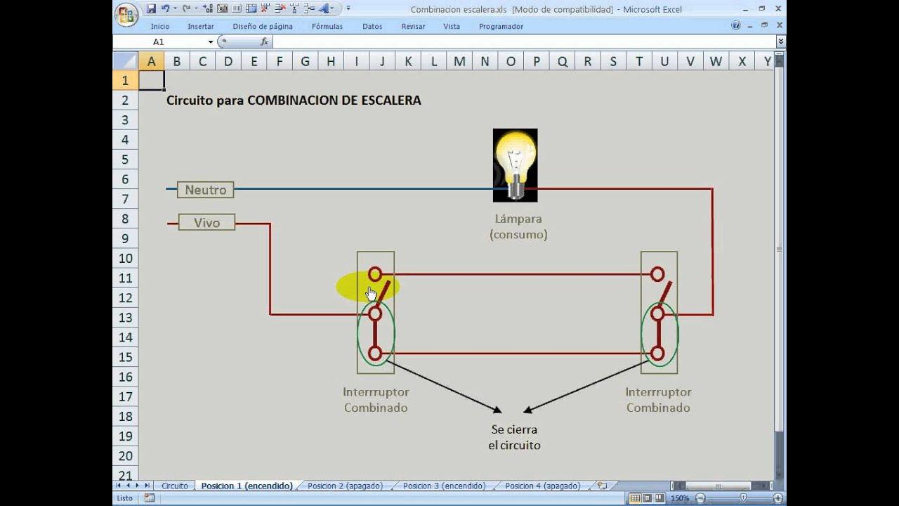 Circuito Unilineal : Circuito combinacion de escalera o pasillo youtube