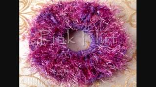 Handmade Crochet Knit Hair Scrunchies :: Flower, Novelty~feather~fur~eyelash~trellis~ Yarn::flhairz