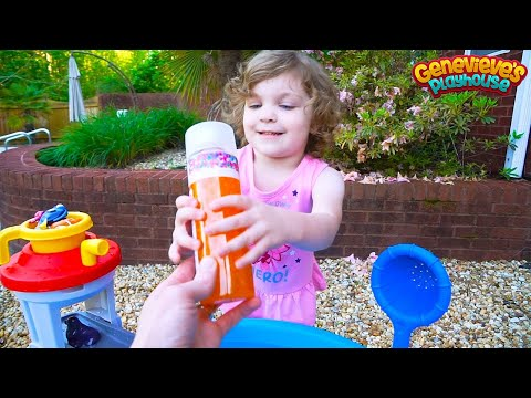 Genevieve plays with Finding Dory in our Backyard Water Table!