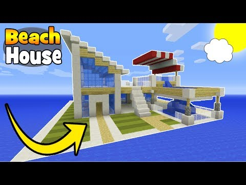 "Minecraft Tutorial: How To Make A Modern Beach House ""Minecraft House"""