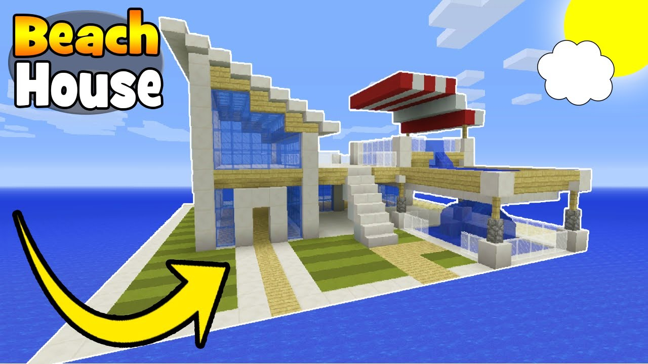 Minecraft tutorial how to make a modern beach house for Beach house designs minecraft