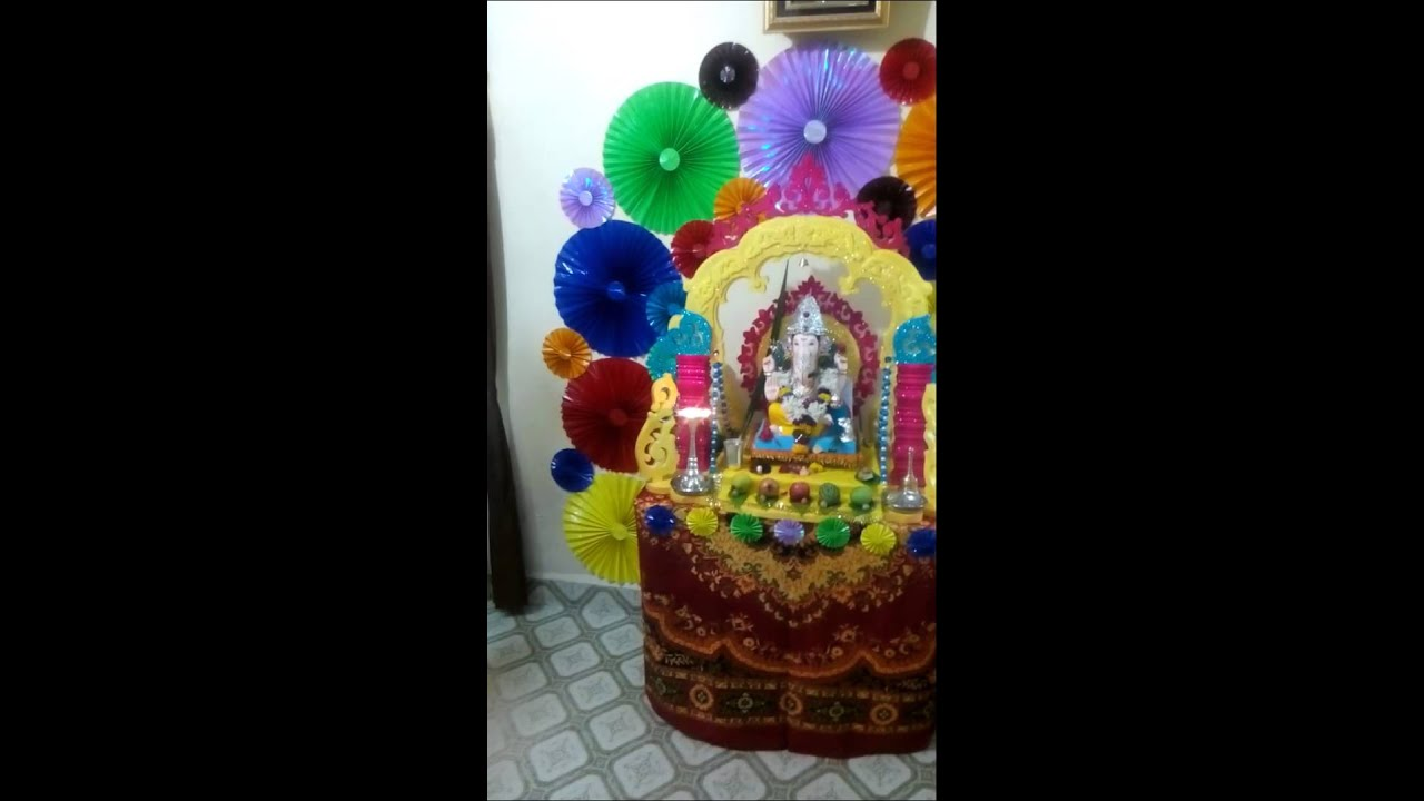 Ganpati Decoration In Home 2015 Youtube