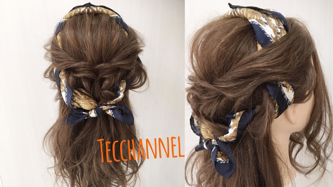 簡単にできる 大人可愛いスカーフヘアアレンジ Tecchannel Youtube