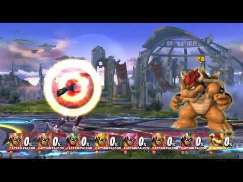 Super Smash Bros 4: 8 Player Glitch Capt Falcons ULTIMATE Phoenix Punch