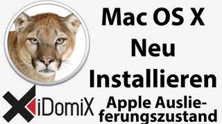 Mac OS X Neu installieren Auslieferungzustand Clean Install