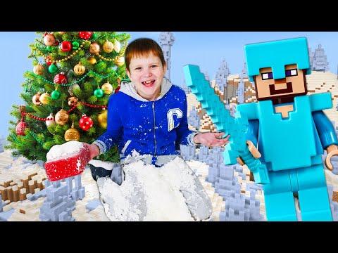 Стив Майнкрафт в видео онлайн – Снежный сюрприз на Новый Год! – Игры для мальчиков.