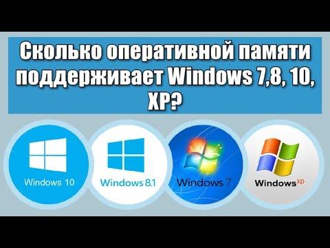 Сколько оперативной памяти поддерживает Windows 7, 8, 10, XP?