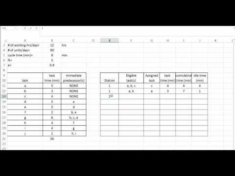 Line Balancing Example 2 Youtube