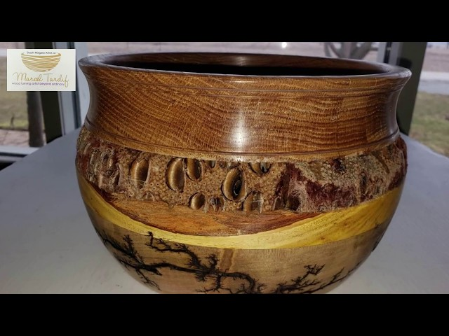 Usable wood art, Wormy maple, osanj orange,banksia seed pod.