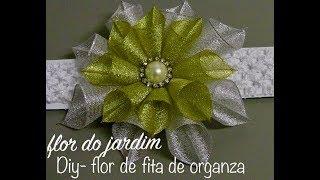 Flor 2 em 1 de Fitas de Organza Para Tiaras ou Natal