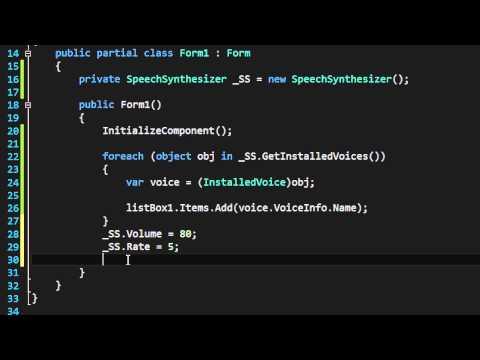 C# - Text To Speech using Speech.Synthesis
