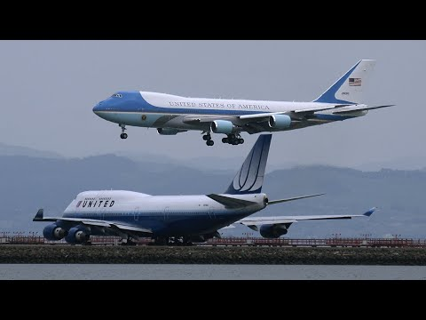 President Obama in Air Force One lands at SFO and Marine One takes off April 20, 2011