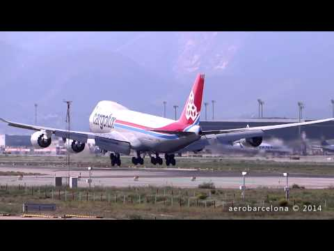 [FULL HD] Cargolux Airlines International 747-8R7F landing Barcelona-El Prat