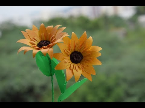 How To Make A Flower With Paper :Sunflower Making diy