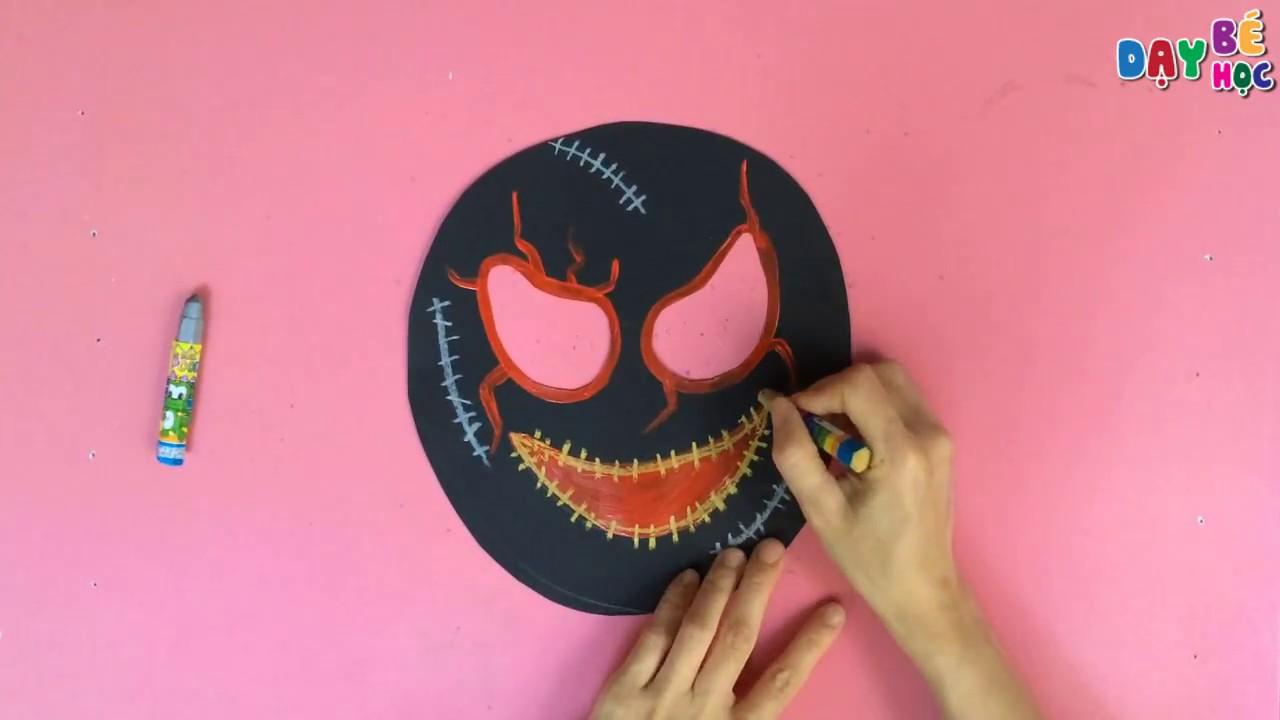 Làm đồ chơi đơn giản | Hướng dẫn cách làm mặt nạ Halloween cho bé | Dạy bé học