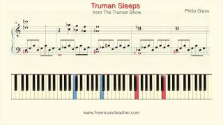 "How To Play Piano: The Trumanshow ""Truman Sleeps"" Philip Glass Piano Tutorial by Ramin Yousefi"