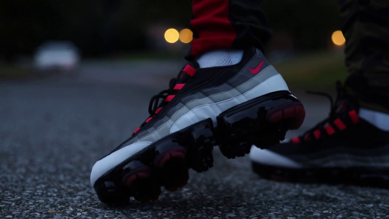 huge selection of 2bb6d 52b65 Nike Vapormax 95 White/Dark Pewter/Granite/Hot Red (Dope or Nope) + On Foot