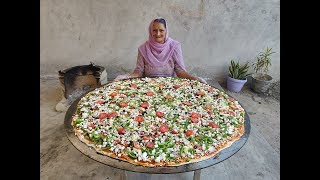 PIZZA  PANEER PIZZA  GIANT PIZZA  PIZZA RECIPE  BIGGEST PIZZA  BY GRANDMA  VEG VILLAGE FOOD