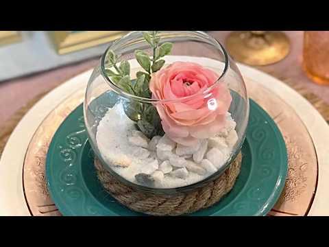 DIY Dollar Tree Spring Decor - Easter Floral & Sand Keepsake Table Arrangement How-to