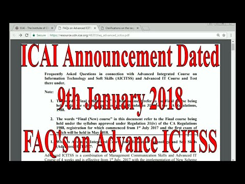 New Announcement of ICAI FAQ's about Advance ICITSS Course for CA Final Students || Clear your doubt