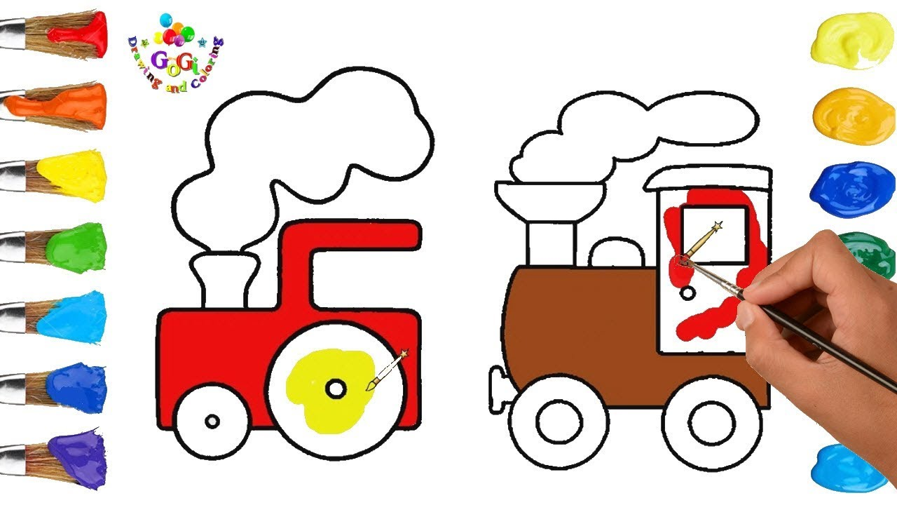 Learn Colors with Train Drawing and Coloring Page | How to Draw ...